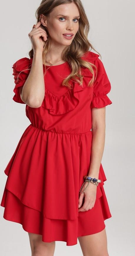 Czerwona sukienka Renee mini rozkloszowana