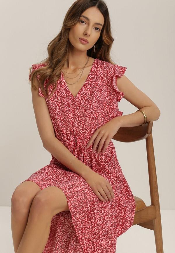 Czerwona sukienka Renee mini z krótkim rękawem z dekoltem w kształcie litery v