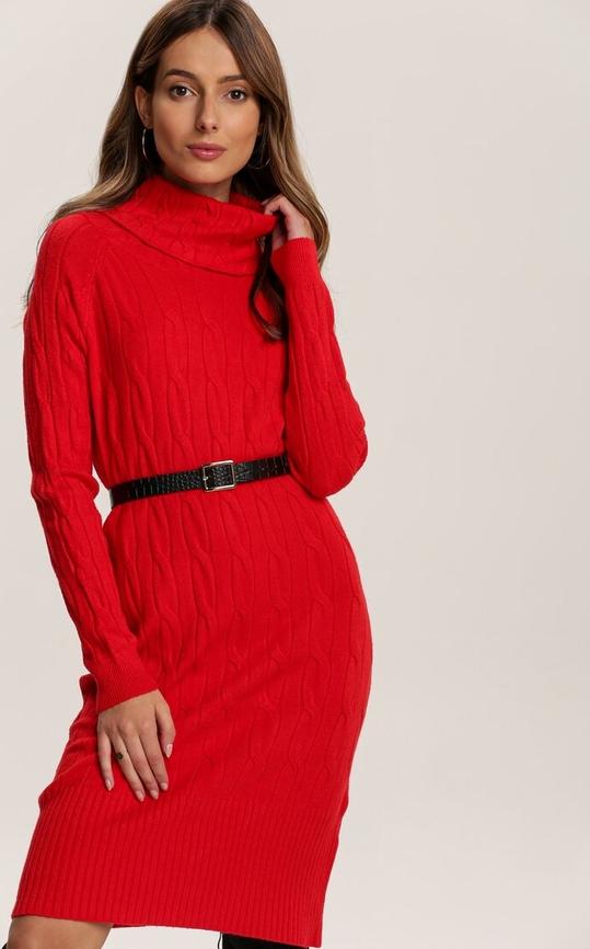Czerwona sukienka Renee w stylu casual z długim rękawem
