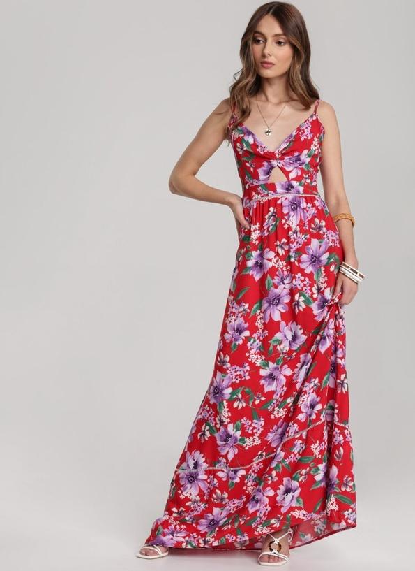 Czerwona sukienka Renee z dekoltem w kształcie litery v maxi rozkloszowana