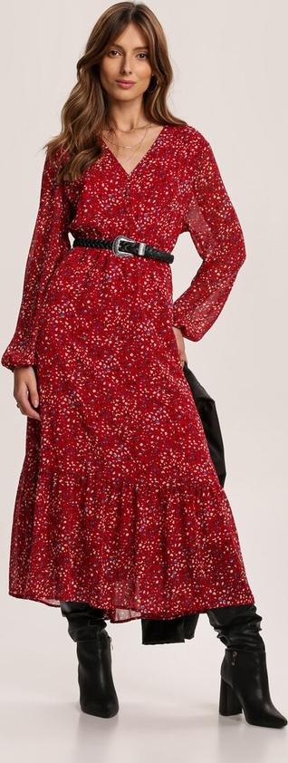 Czerwona sukienka Renee z dekoltem w kształcie litery v z długim rękawem maxi