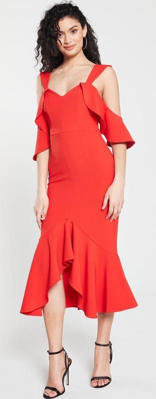 Czerwona sukienka River Island midi z dekoltem w kształcie litery v z długim rękawem