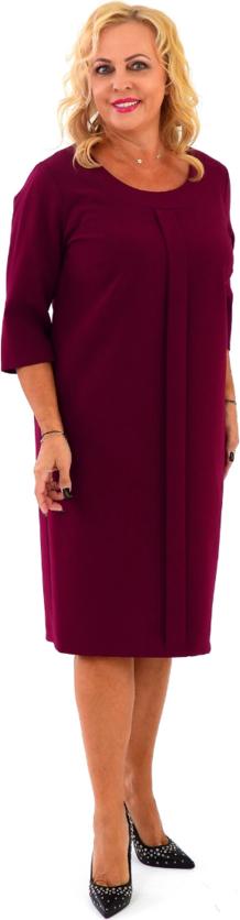 Czerwona sukienka Roxana - sukienki midi z długim rękawem