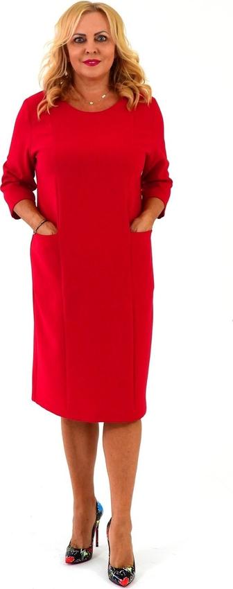 Czerwona sukienka Roxana - sukienki z okrągłym dekoltem dla puszystych z długim rękawem