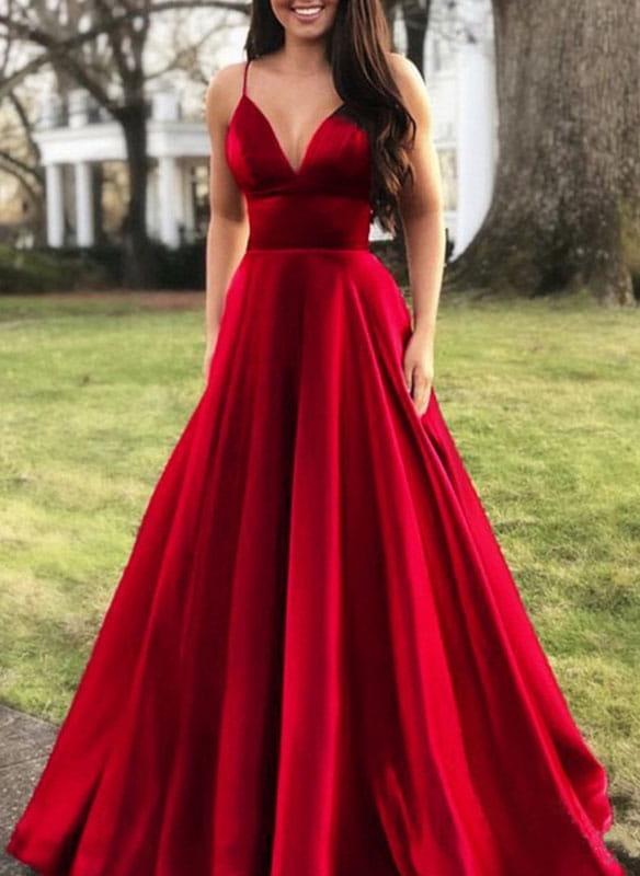 Czerwona sukienka Sandbella z dekoltem w kształcie litery v maxi
