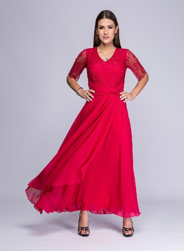 Czerwona sukienka Semper z dekoltem w kształcie litery v
