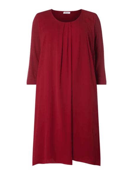 Czerwona sukienka Sheego mini z długim rękawem