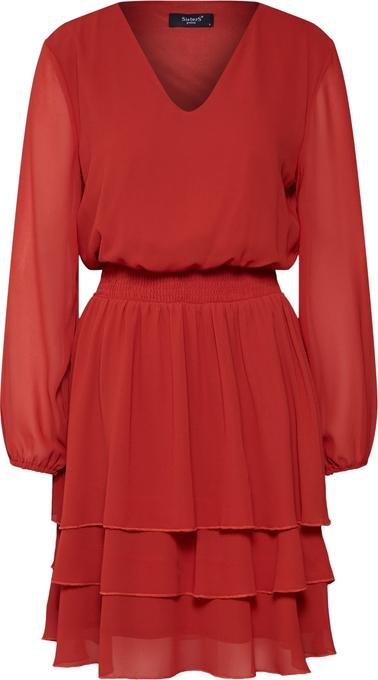 Czerwona sukienka Sister'S Point w stylu casual rozkloszowana z dekoltem w kształcie litery v