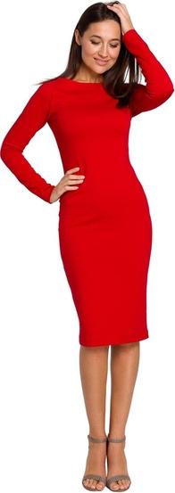 Czerwona sukienka Style z dzianiny z długim rękawem midi