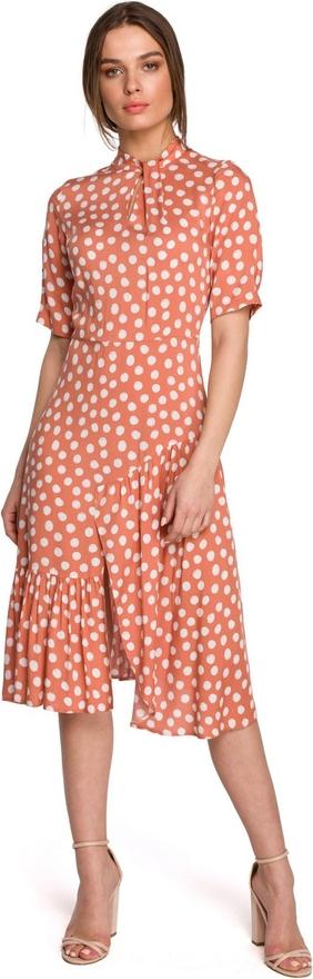 Czerwona sukienka Style z okrągłym dekoltem z tkaniny midi