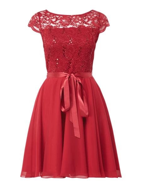 Czerwona sukienka Swing w stylu glamour mini z szyfonu