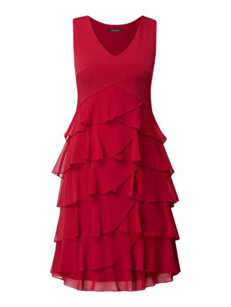 Czerwona sukienka Swing z szyfonu mini bez rękawów