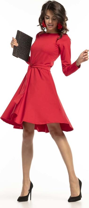 Czerwona sukienka Tessita rozkloszowana z długim rękawem