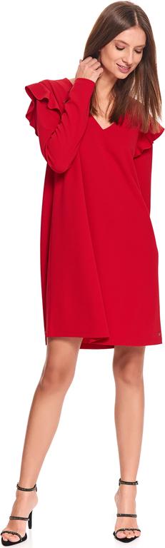 Czerwona sukienka Top Secret z dekoltem w kształcie litery v w stylu casual z długim rękawem