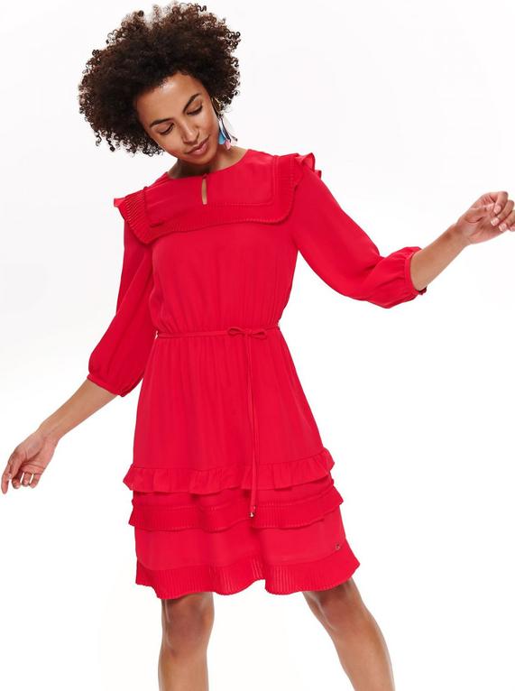 Czerwona sukienka Top Secret z długim rękawem mini