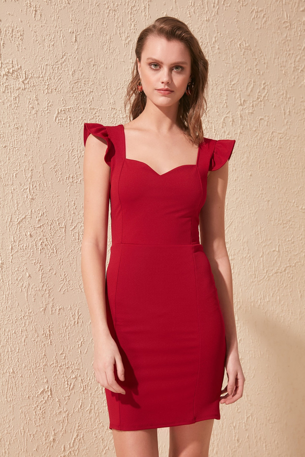 Czerwona sukienka Trendyol z krótkim rękawem mini