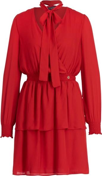 Czerwona sukienka Trussardi Jeans rozkloszowana