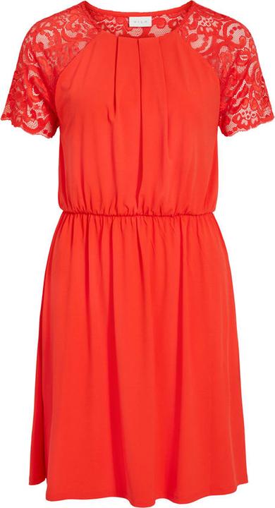 Czerwona sukienka Vila z krótkim rękawem w stylu casual z okrągłym dekoltem