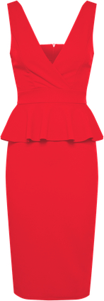 Czerwona sukienka wal g. na co dzień ołówkowa