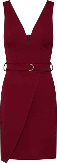 Czerwona sukienka WAL G. z dżerseju z dekoltem w kształcie litery v