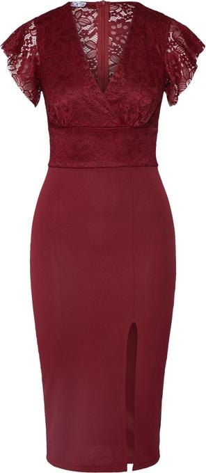 Czerwona sukienka WAL G. z krótkim rękawem z dekoltem w kształcie litery v