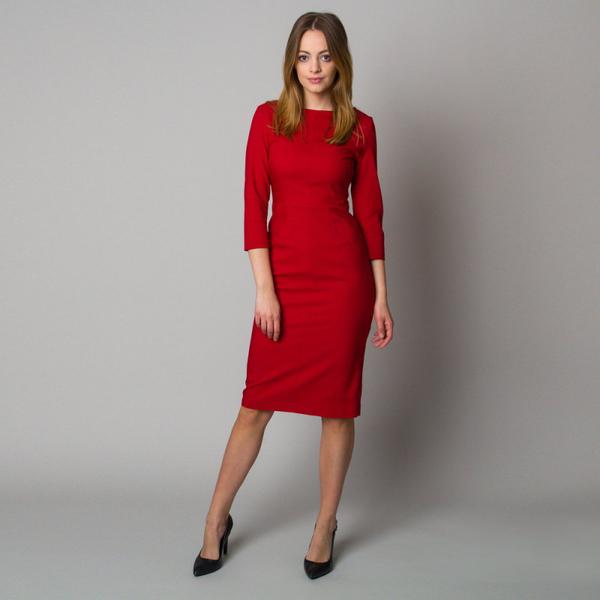 Czerwona sukienka Willsoor z dekoltem w kształcie litery v z długim rękawem midi