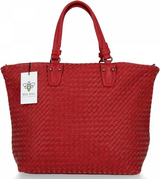 Czerwona torebka Bee Bag ze skóry ekologicznej w stylu glamour