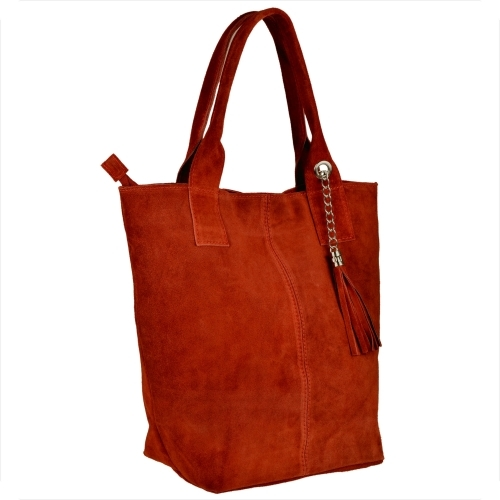 Czerwona torebka Borse in Pelle w wakacyjnym stylu z zamszu