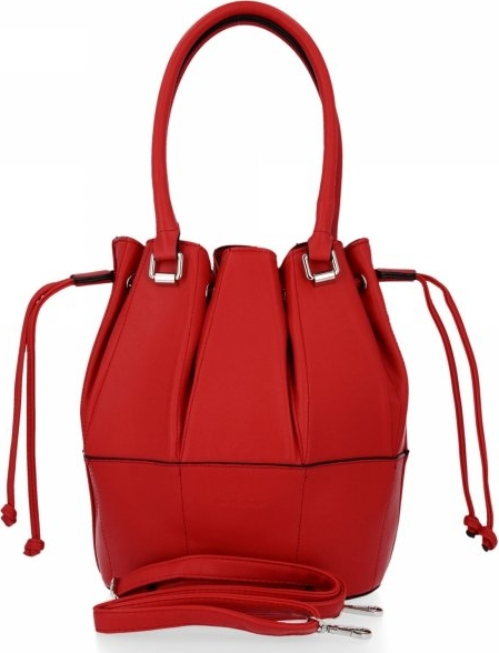 Czerwona torebka David Jones ze skóry ekologicznej lakierowana na ramię