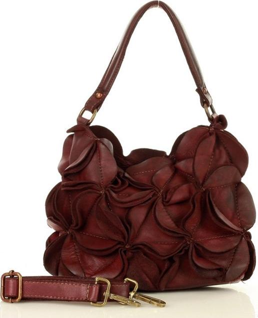 Czerwona torebka Marco Mazzini Handmade na ramię ze skóry średnia