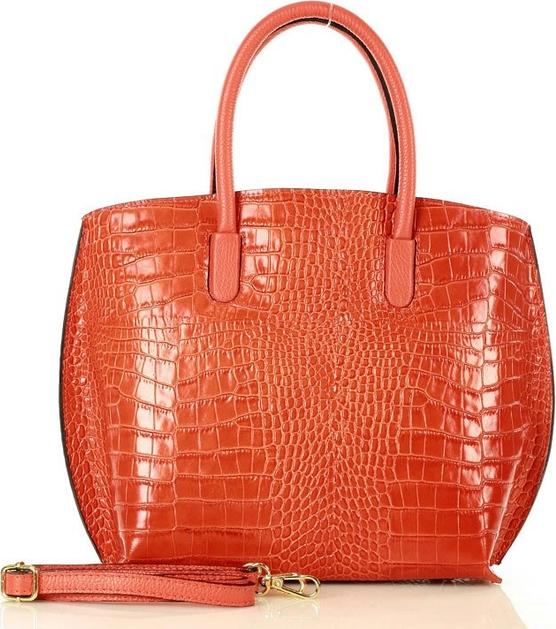 Czerwona torebka Merg średnia z tłoczeniem ze skóry