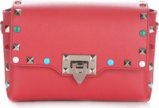 Czerwona torebka Vera Pelle mała na ramię w młodzieżowym stylu
