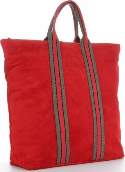 Czerwona torebka VITTORIA GOTTI duża zamszowa z kolorowym paskiem