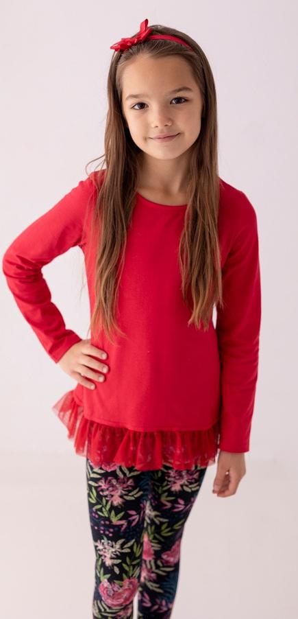 Czerwona tunika dziewczęca Myprincess / Lily Grey w kwiatki z tiulu