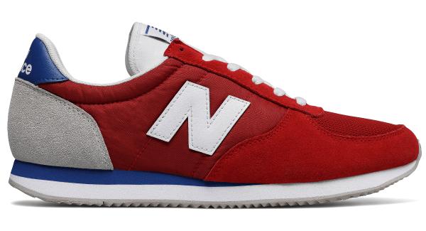 Czerwone buty New Balance z płaską podeszwą sznurowane ze skóry