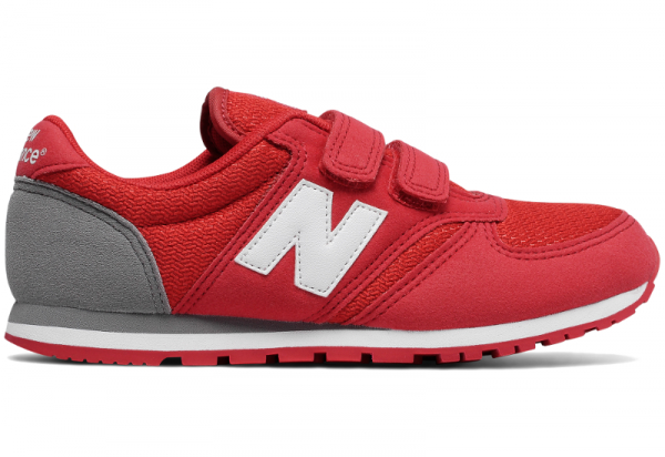 b2acfcd75c Czerwone buty New Balance na rzepy z zamszu