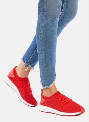Czerwone buty sportowe DeeZee sznurowane z płaską podeszwą