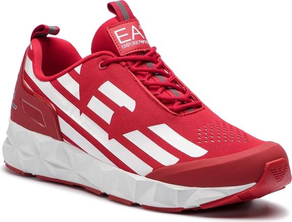 Czerwone buty sportowe EA7 Emporio Armani w sportowym stylu sznurowane
