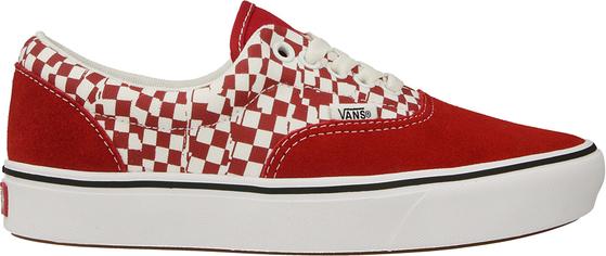 Czerwone buty sportowe Vans z płaską podeszwą sznurowane