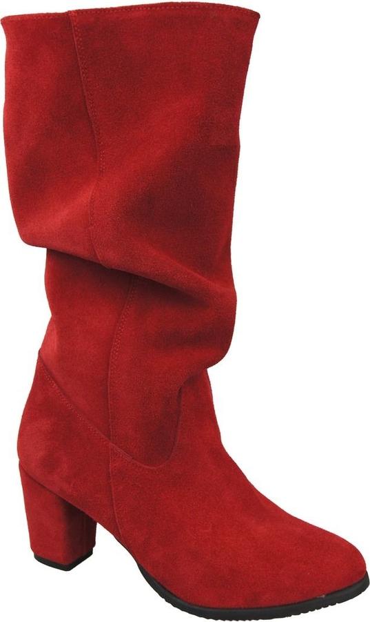 Czerwone kozaki Jankobut na zamek na słupku przed kolano