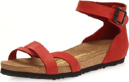 Czerwone sandały Comfortfusse ze skóry