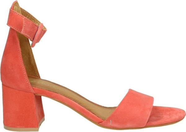 Czerwone sandały Darbut na słupku w stylu klasycznym z zamszu