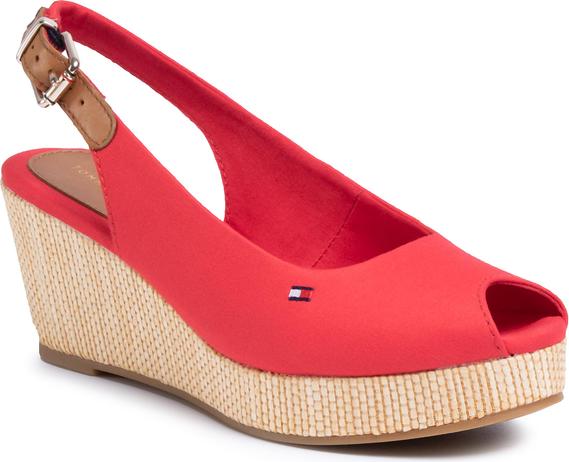 Czerwone sandały eobuwie.pl z klamrami z tkaniny w stylu retro