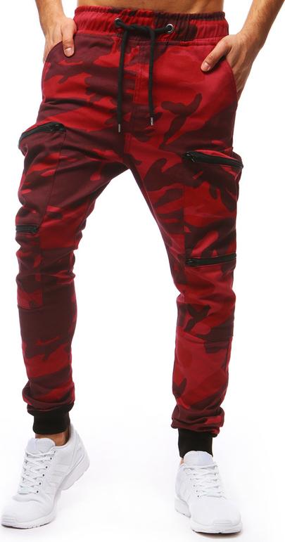 Czerwone spodnie dstreet z bawełny