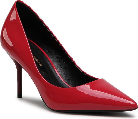 Czerwone szpilki Gino Rossi ze spiczastym noskiem ze skóry na szpilce