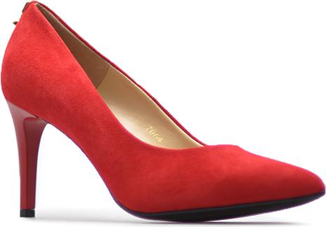 Czerwone szpilki Sala na szpilce w stylu klasycznym ze skóry