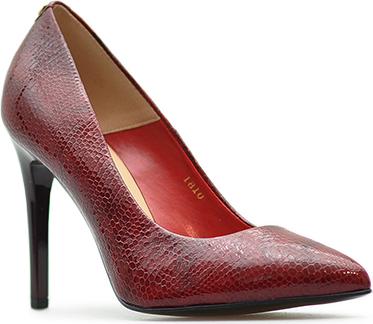 Czerwone szpilki Sala ze skóry w stylu glamour
