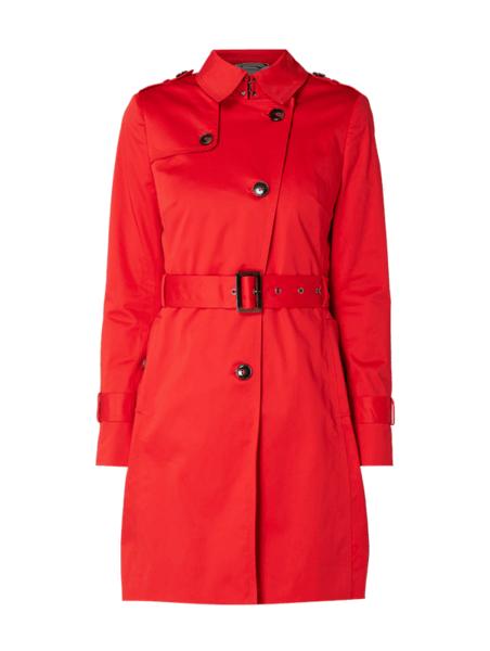 Czerwony płaszcz Jake*s Collection w stylu casual z bawełny