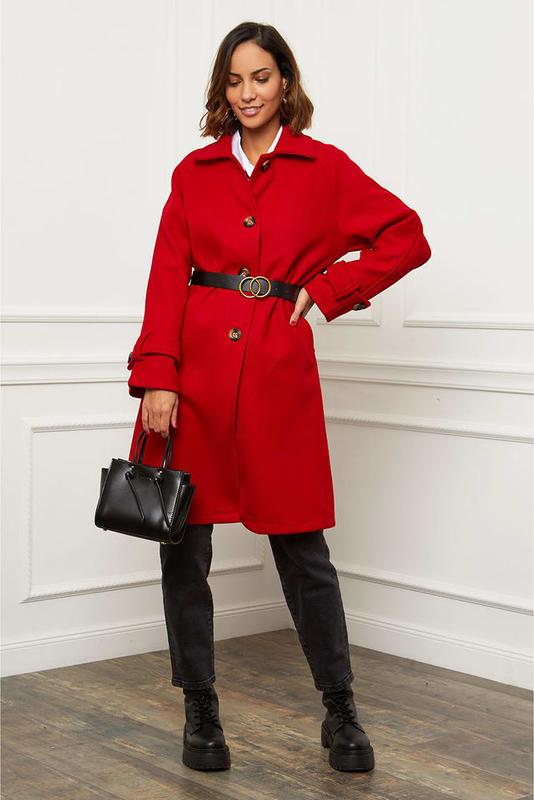 Czerwony płaszcz Le Comptoir Du Manteau z wełny w stylu casual