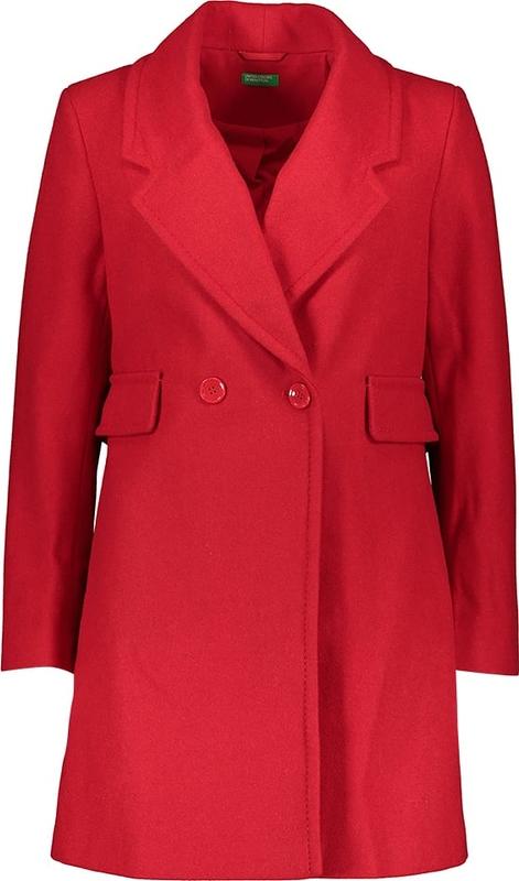 Czerwony płaszcz United Colors Of Benetton z wełny